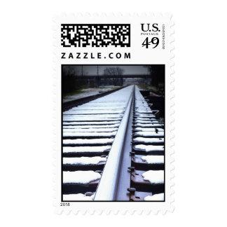 Rail Road Tracks in Winter Stamp