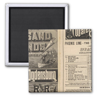 Rail Route to the Thousand Islands 2 Inch Square Magnet