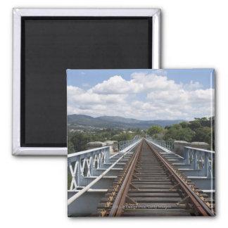 Rail Tracks On Top Of Eiffel Bridge 2 Inch Square Magnet