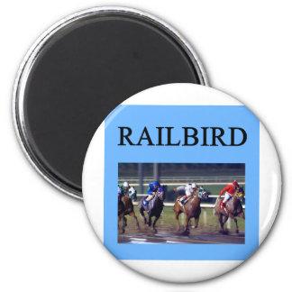 Railbird de la carrera de caballos imán redondo 5 cm