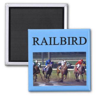 Railbird de la carrera de caballos imán cuadrado