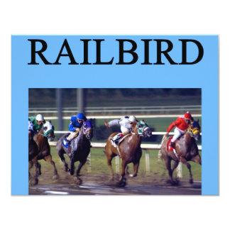 """Railbird de la carrera de caballos invitación 4.25"""" x 5.5"""""""