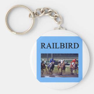 Railbird de la carrera de caballos llavero redondo tipo pin
