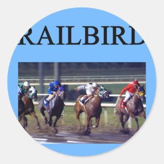 Railbird de la carrera de caballos pegatina redonda