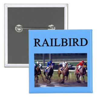 Railbird de la carrera de caballos pin cuadrada 5 cm