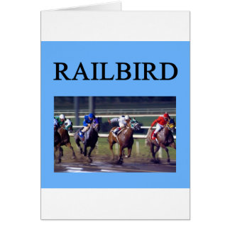 Railbird de la carrera de caballos tarjeta de felicitación