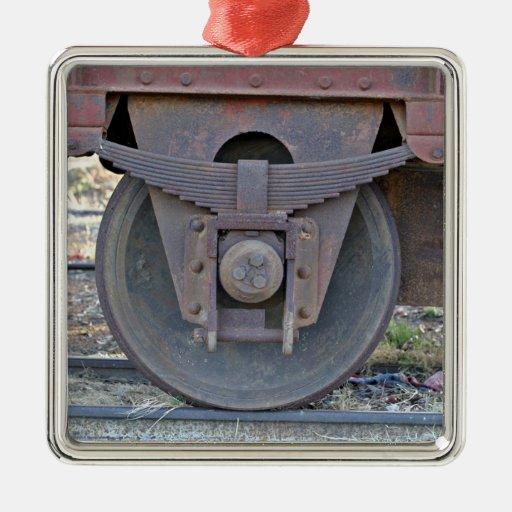 Railcar wheel christmas tree ornament