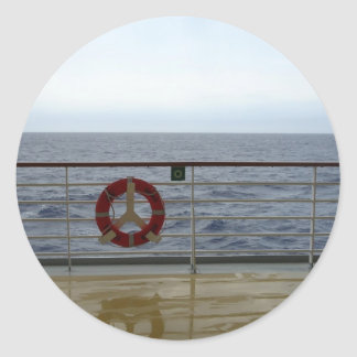 Railing of Cruise Ship Classic Round Sticker