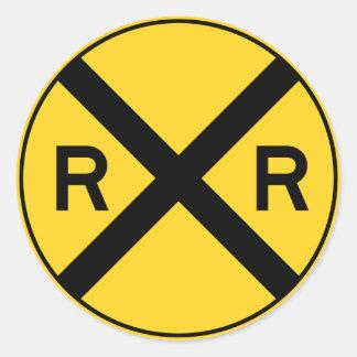 Railroad Ahead RXR Crossbar Warning Road Sign Classic Round Sticker