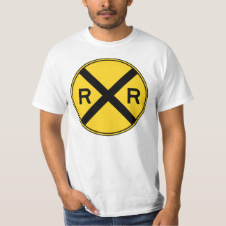 Railroad Ahead RXR Crossbar Warning Road Sign T-Shirt
