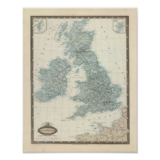 Railroad and Canals of British Isles Print