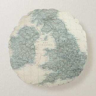 Railroad and Canals of British Isles Round Pillow