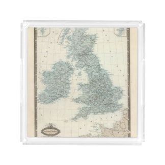 Railroad and Canals of British Isles Serving Tray
