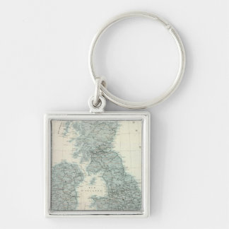 Railroad and Canals of British Isles Silver-Colored Square Keychain