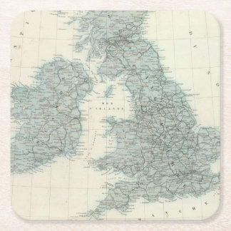 Railroad and Canals of British Isles Square Paper Coaster