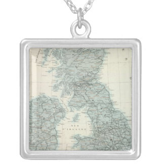 Railroad and Canals of British Isles Square Pendant Necklace