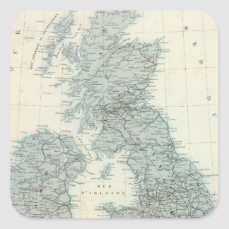 Railroad and Canals of British Isles Square Sticker