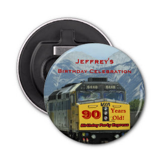 Railroad Bottle Opener 90th Birthday Party Favor