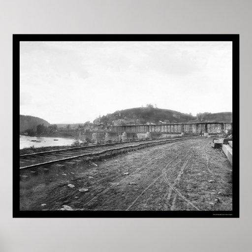 Railroad Bridge at Harpers Ferry, WV 1862 Poster