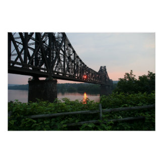 Railroad Bridge at Sunset Poster
