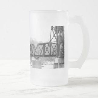 Railroad Bridge Stien Frosted Glass Beer Mug