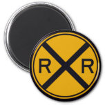 Railroad Crossing 2 Inch Round Magnet