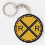 Railroad Crossing Basic Round Button Keychain