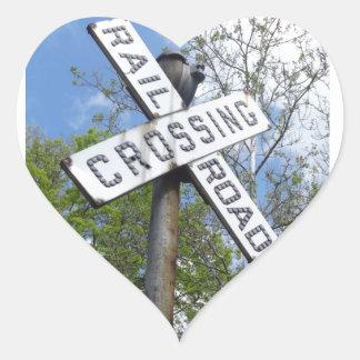 Railroad Crossing Heart Sticker