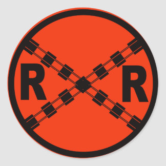 Railroad Crossing Highway Road Sign Classic Round Sticker