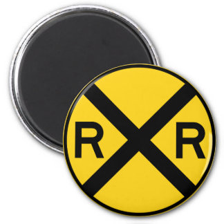 Railroad Crossing Highway Sign 2 Inch Round Magnet