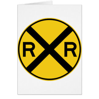 Railroad Crossing Highway Sign Card