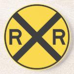 Railroad Crossing Highway Sign Drink Coaster