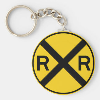 Railroad Crossing Highway Sign Keychain