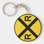 Railroad Crossing Highway Sign Basic Round Button Keychain