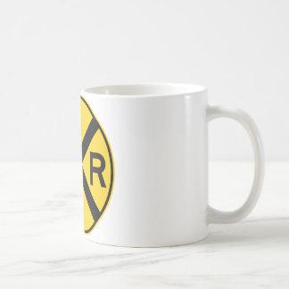 Railroad Crossing Highway Sign Classic White Coffee Mug