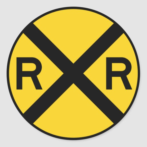 Railroad Crossing Highway Sign Round Sticker