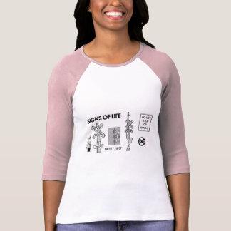 Railroad Crossing Lifesaving Signs Ladies Ragland T-Shirt