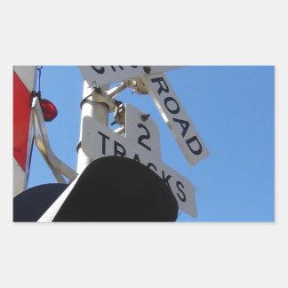 Railroad Crossing lights and arm Rectangular Sticker