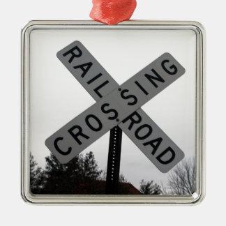 Railroad Crossing Metal Ornament