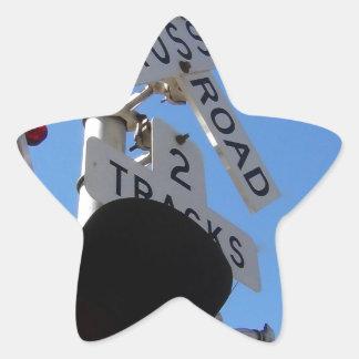 railroad crossing Route 66 Shield Star Sticker