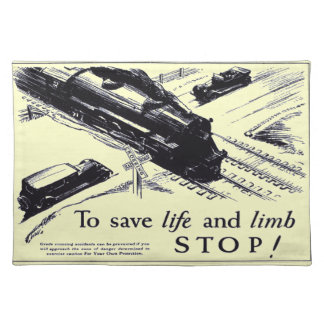 Railroad Crossing Safety 1906 Placemats Cloth Place Mat