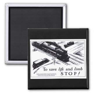 Railroad Crossing Safety 1906 Square Magnet