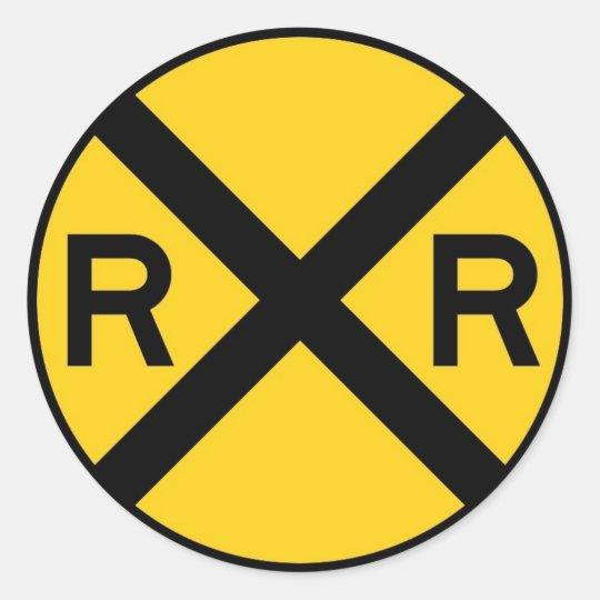 Railroad Crossing Sign Classic Round Sticker