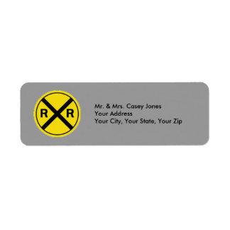 Railroad Crossing Sign Label