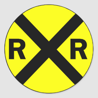 Railroad crossing sign round classic round sticker
