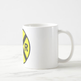 Railroad crossing sign round coffee mugs