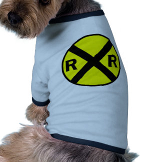 Railroad crossing sign round pet tshirt