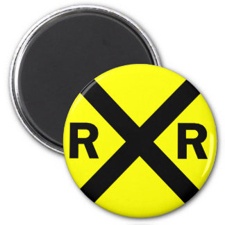 Railroad crossing sign round magnet