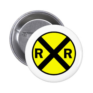 Railroad crossing sign round pinback buttons