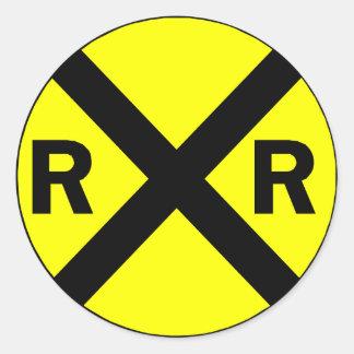 Railroad crossing sign round classic round sticker